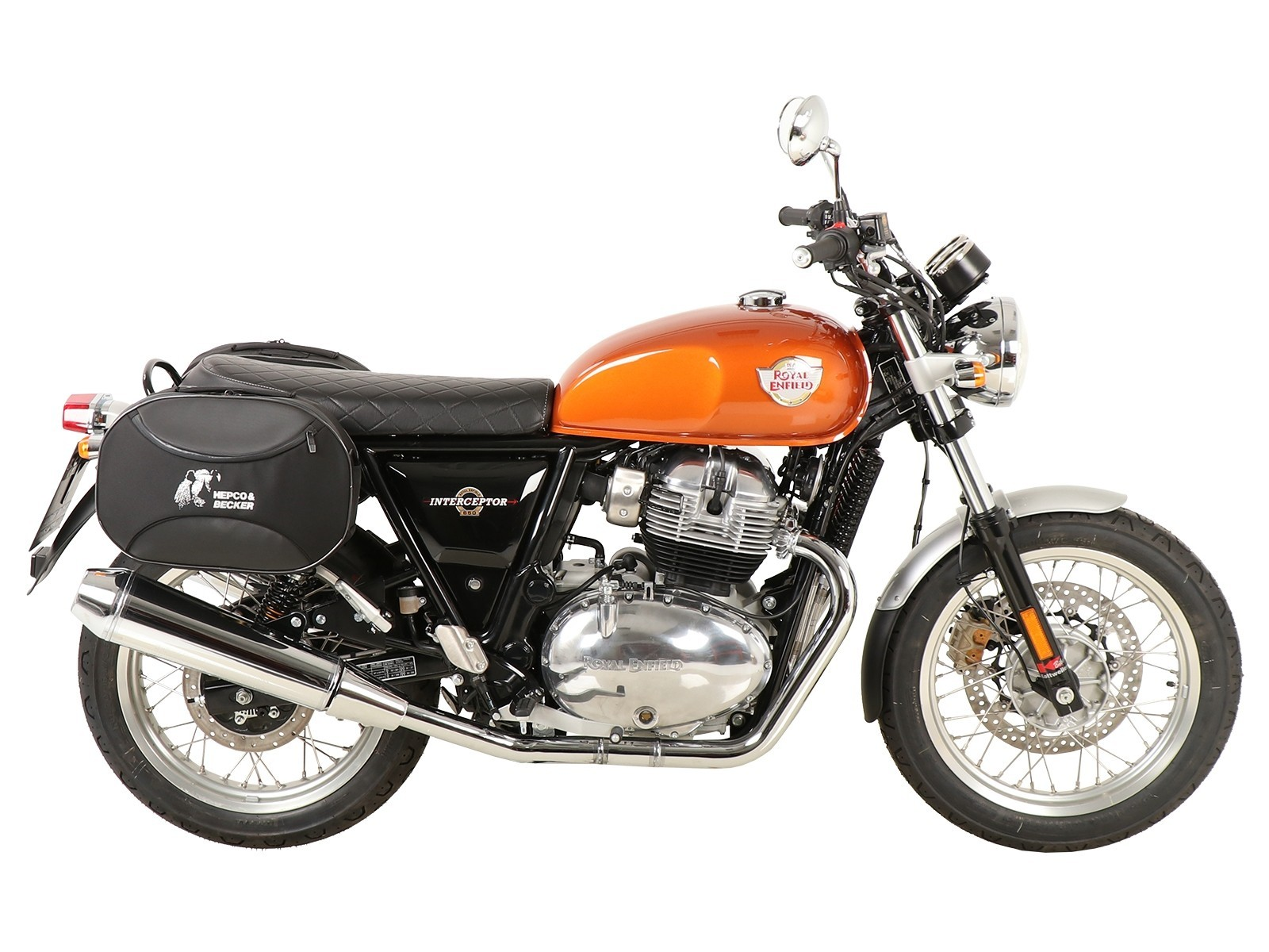 ROYAL ENFIELD INTERCEPTOR 650 HEPCO AND BECKER STREET SOFTBAGS WITH BLACK C-BOW FITTING KIT