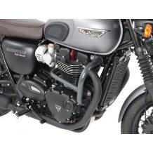 Triumph Street Twin/T120/T100/Thruxton/R from 2016 on tubular steel HB engine protection bars in black.